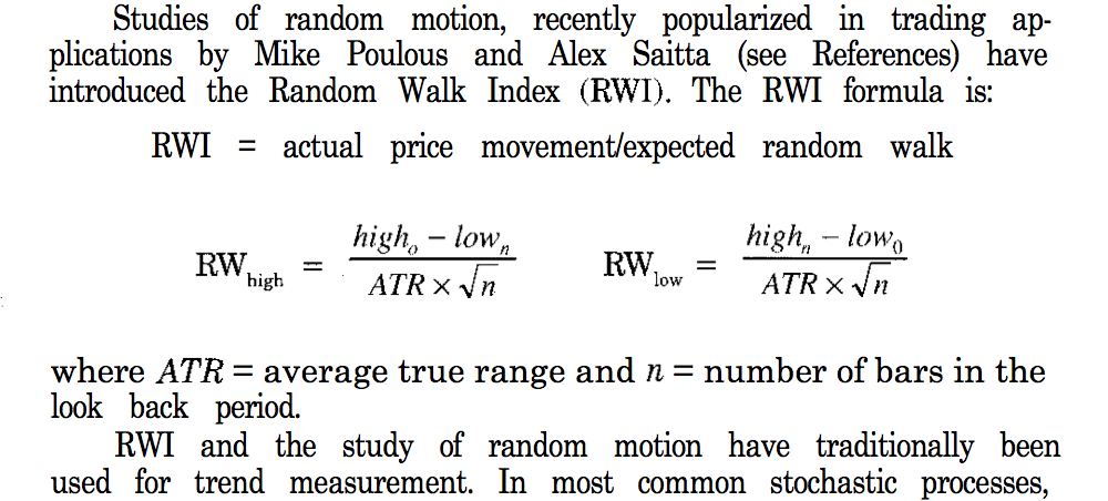 Random walk trading system